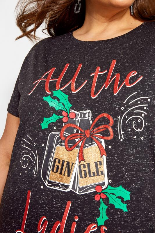 Black Metallic Christmas Gingle Ladies Slogan T-Shirt