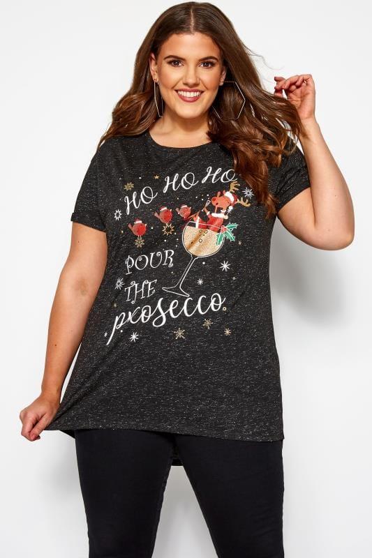 Plus Size Slogan T-Shirts Black Metallic Christmas Prosecco Slogan T-Shirt