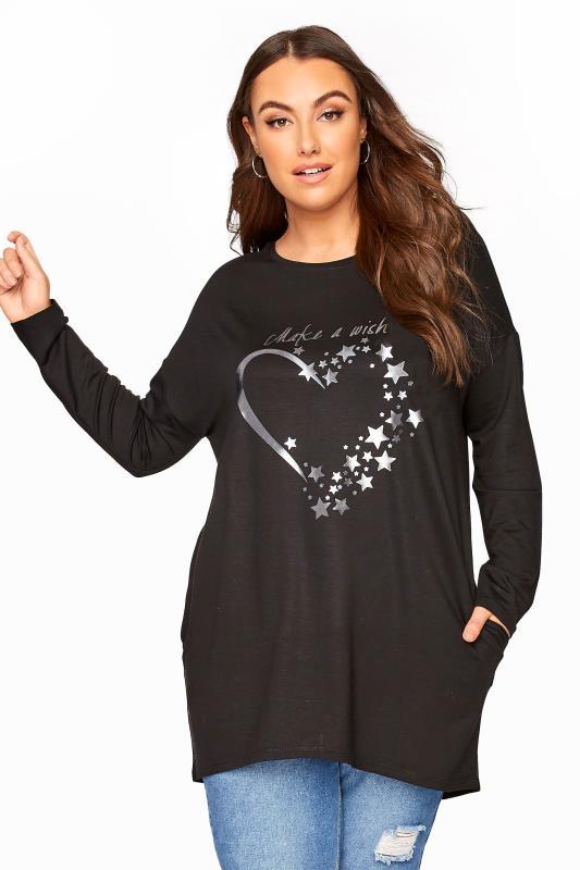 Plus Size  Black Silver Heart Slogan Sweatshirt