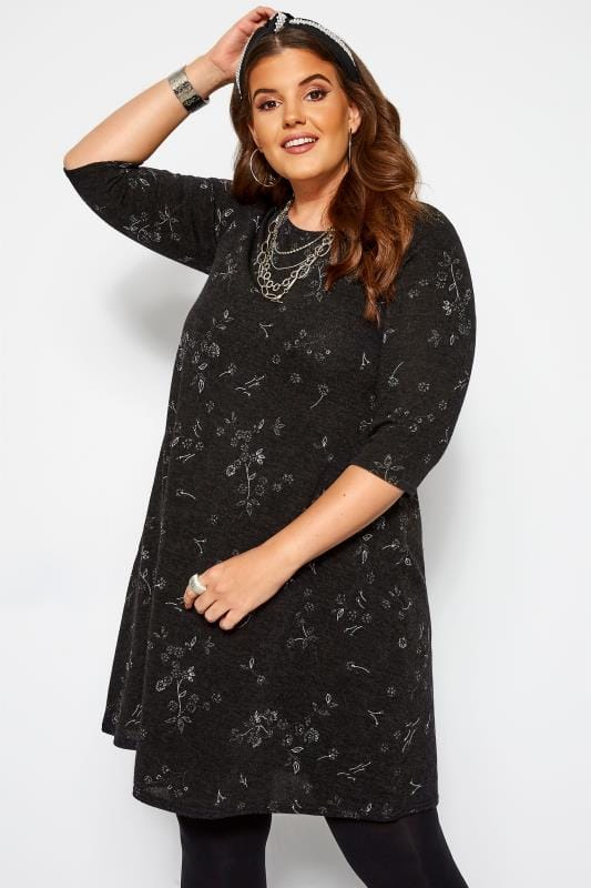 Plus Size Black Dresses Black Marl Floral Knitted Dress