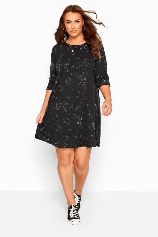 Plus-Größen Black Dresses Black Marl Floral Knitted Dress