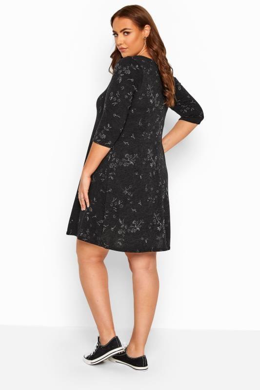 Black Marl Floral Knitted Dress