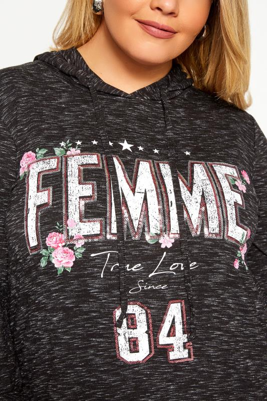Black Marl Sequin 'Femme' Slogan Hoodie