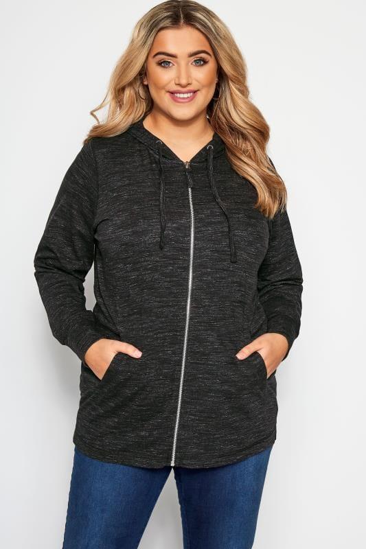Große Größen Sweatshirts Hoodie mit ganzem Reißverschluss - Grau meliert