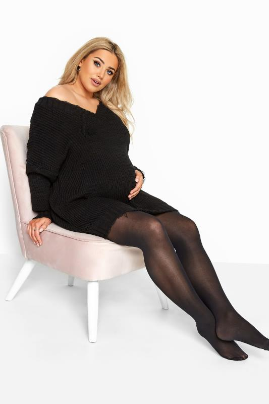 Plus Size Hosiery / Tights Black 60 Denier Maternity Tights