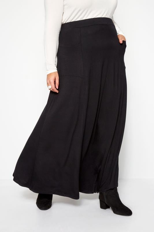 Jupes Longues Grande Taille Jupe Longue Noire avec Poches