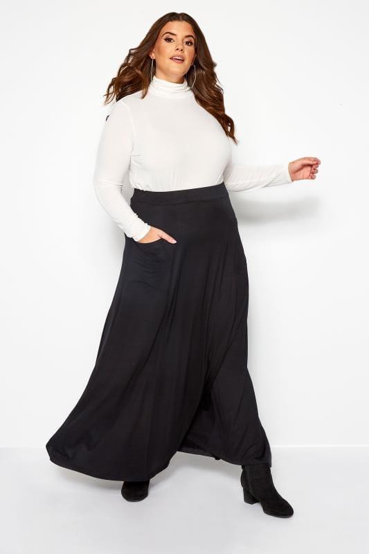 Black Maxi Jersey Skirt