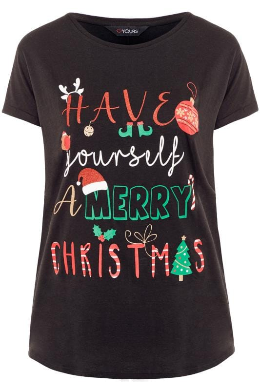 Black Merry Christmas Slogan T-Shirt