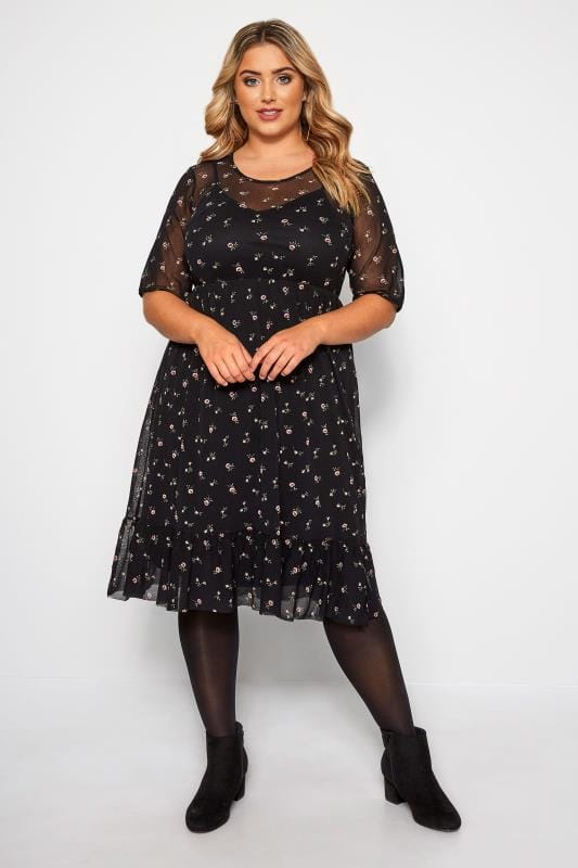 Black Mesh Ditsy Floral Ruffle Dress