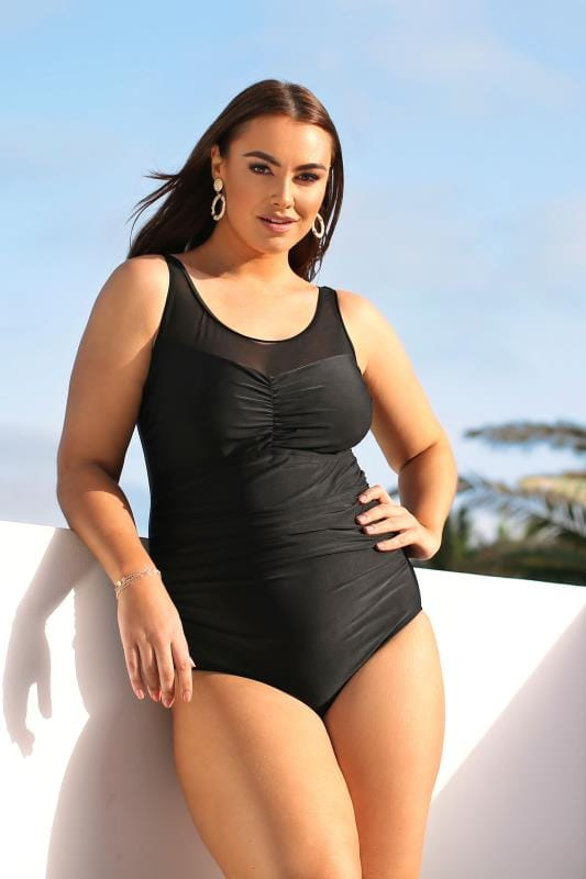 Swimsuits dla puszystych Black Mesh Panel Swimsuit
