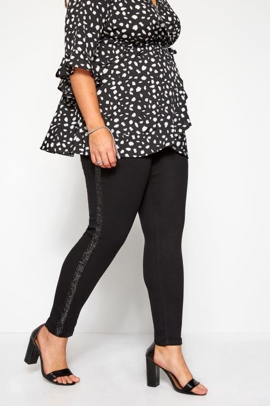 Plus Size Jeggings Black Metallic Glitter Side Stripe JENNY Jeggings