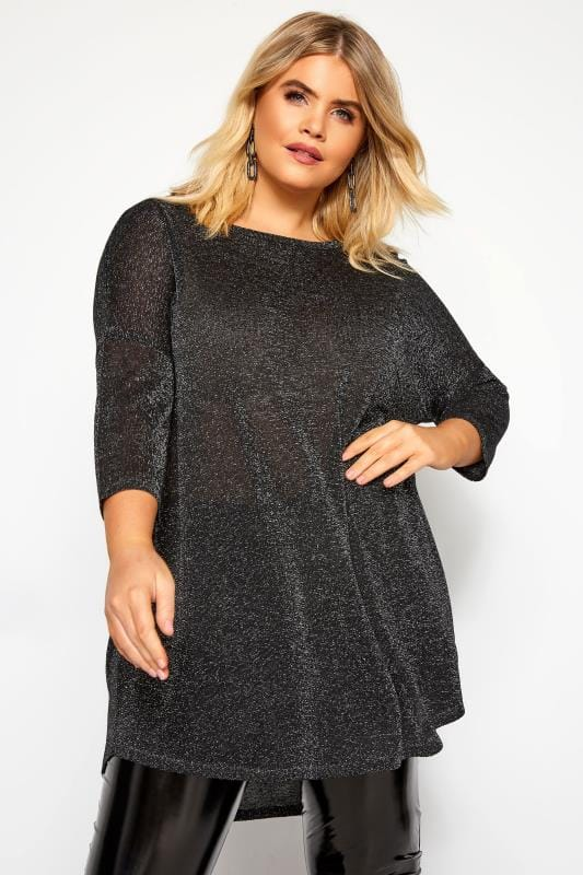 Plus Size Knitted Tops Black & Silver Metallic Knitted Jumper