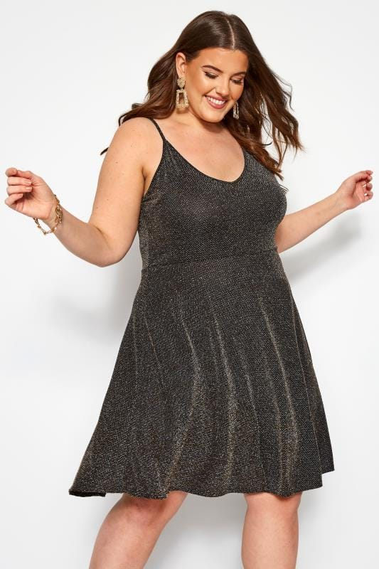 Plus Size Party Dresses Black Metallic Skater Dress