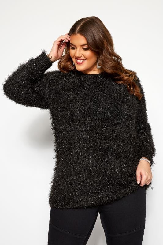 Plus Size Jumpers Black Metallic Tinsel Knitted Jumper