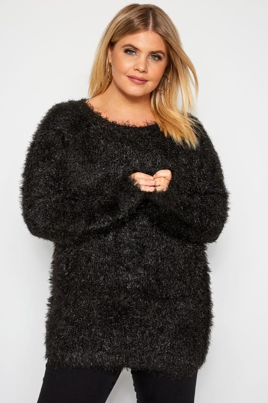Plus Size Sweaters Black Metallic Tinsel Knitted Jumper