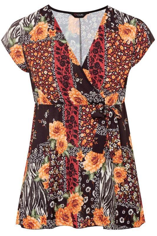 Black Mixed Floral Print Wrap Top