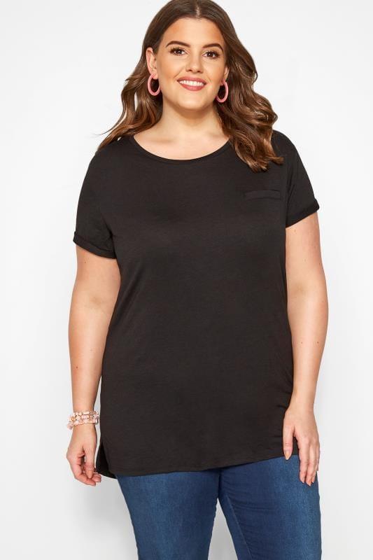 Plus Size Jersey Tops Black Mock Pocket T-Shirt