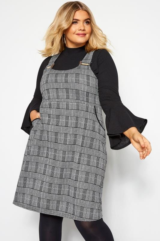 Plus Size Pinafore Dresses Black Mono Tartan Check Pinafore