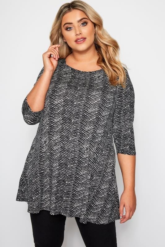 Plus Size Jersey Tops Black Mono Zig Zag Jersey Swing Top
