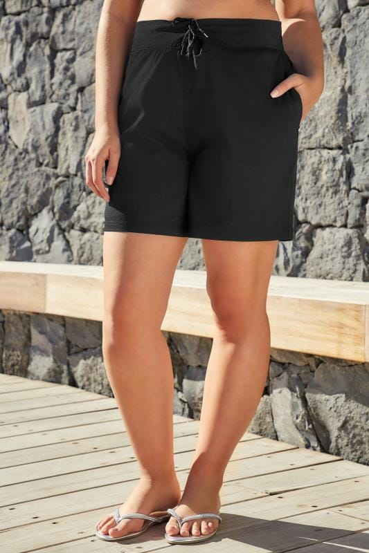 Plus Size Swim Shorts Black Multi-Purpose Swim Shorts With Drawstring Waist