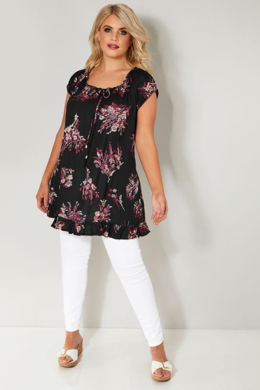 Black & Multi Floral Print Gypsy Top With Frill Hem