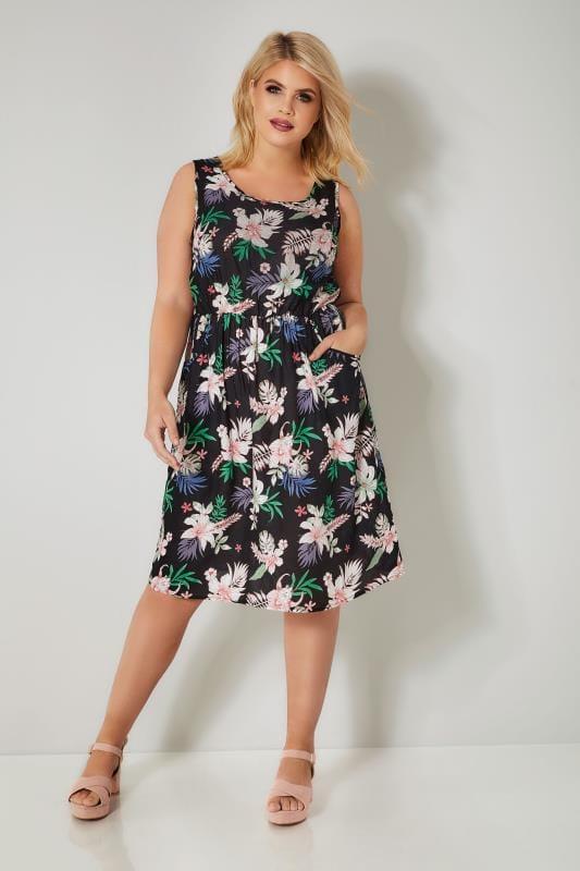 Black & Multi Floral Print Pocket Dress With Elasticated Waist
