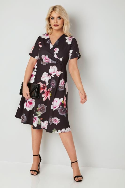 Black & Multi Floral Wrap Dress, plus size 16 to 36