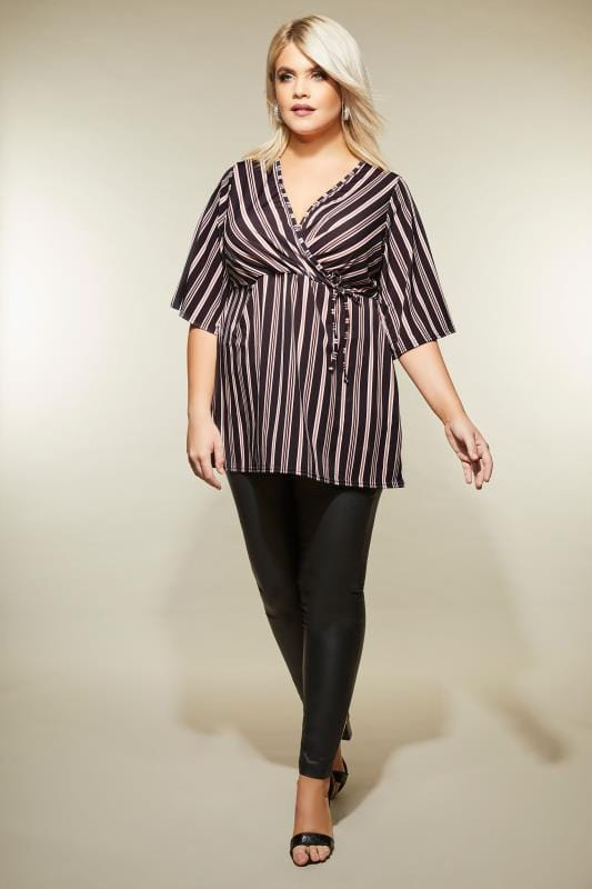 Black & Multi Stripe Wrap Top