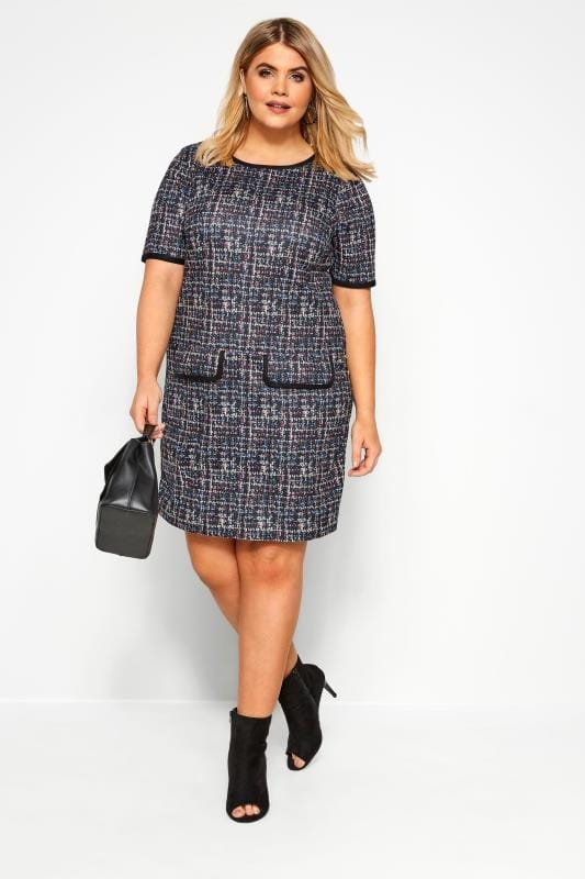 Plus Size Tunics Black & Multicolour Tweed Pattern Tunic