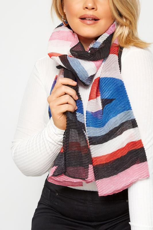 Plus Size Scarves Black Multicoloured Stripe Crinkle Scarf