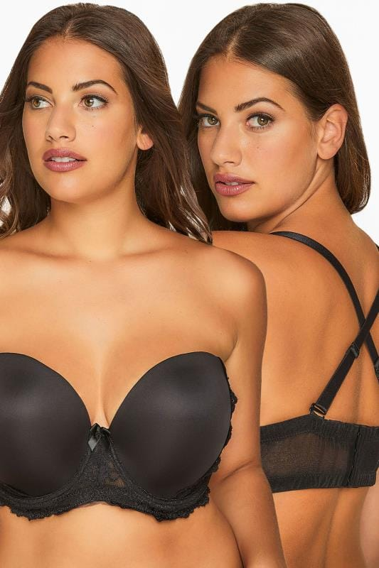 Großen Größen Plus Size Moulded Bras Black Multiway Microfibre Lace Bra With Removable Straps