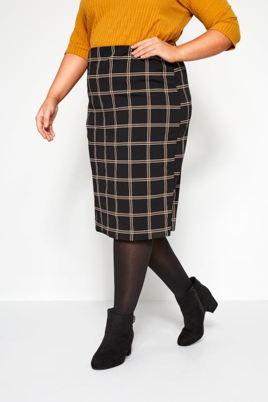Plus Size Pencil Skirts Black & Mustard Yellow Check Pencil Skirt