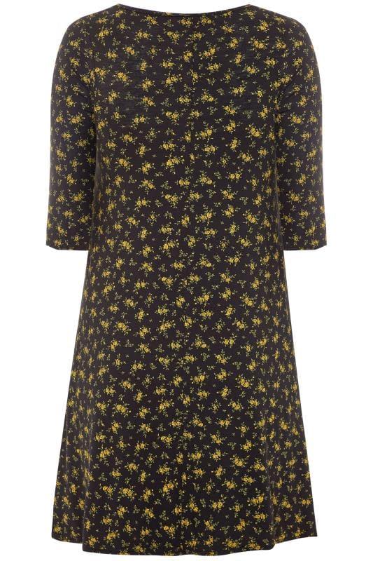 Black & Mustard Yellow Floral Swing Dress