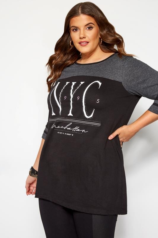 Plus Size Day Tops Black 'NYC' Diamante Embellished Varsity Top