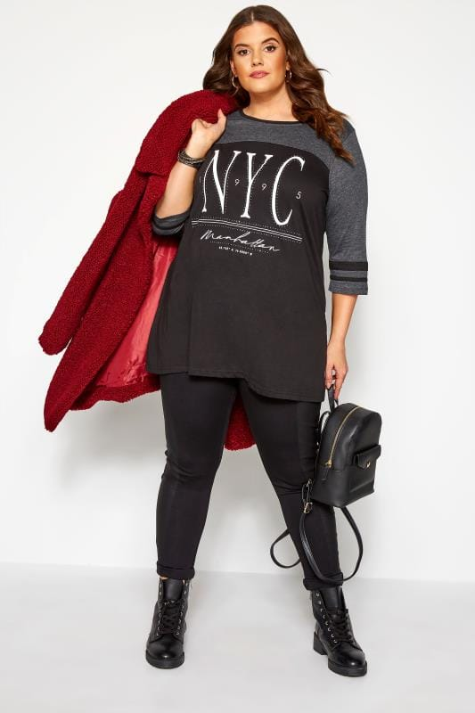 Black 'NYC' Diamante Embellished Varsity Top