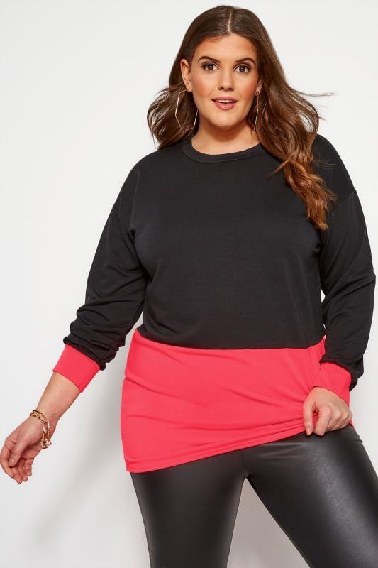 Plus Size Sweatshirts & Hoodies Black Neon Colour Block Sweatshirt