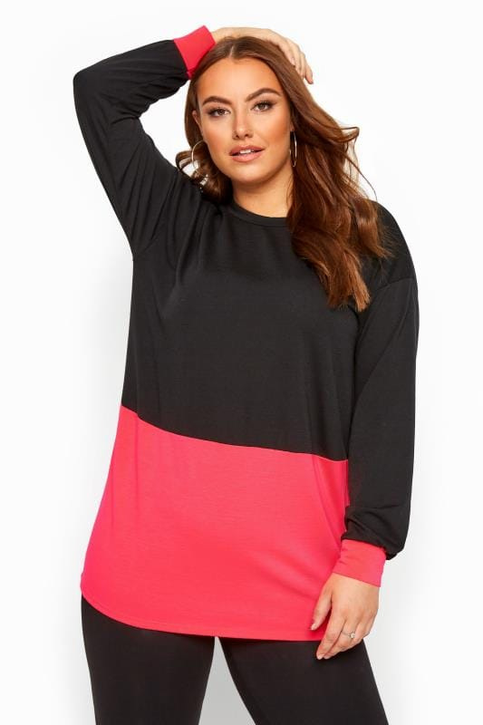 Black Neon Colour Block Sweatshirt