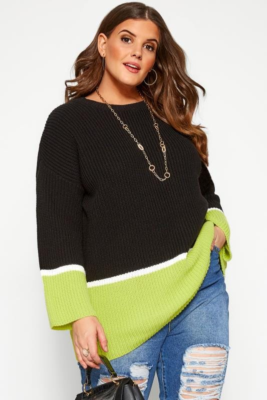Plus Size Jumpers Black & Neon Green Colour Block Jumper