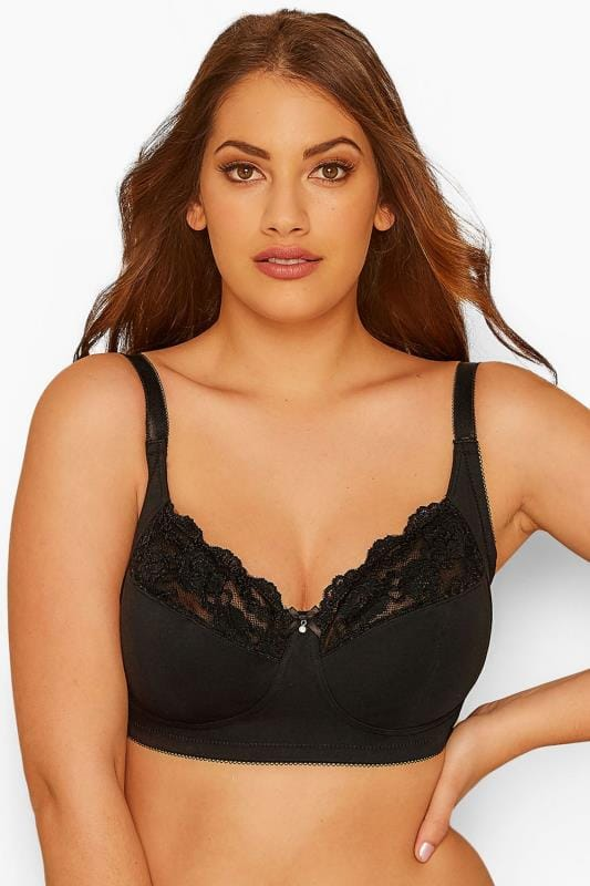 Большие размеры | Plus Size Non-Wired Bras Black Non-Wired Cotton Bra With Lace Trim - Best Seller