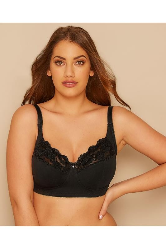 Plus Size Non-Wired Bras dla puszystych Black Non-Wired Cotton Bra With Lace Trim - Best Seller