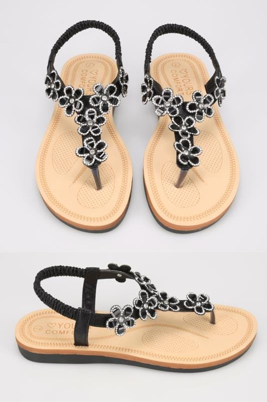 Wide Fit Sandals Black Open Toe Sandals With Embellished Floral Straps In TRUE EEE Fit