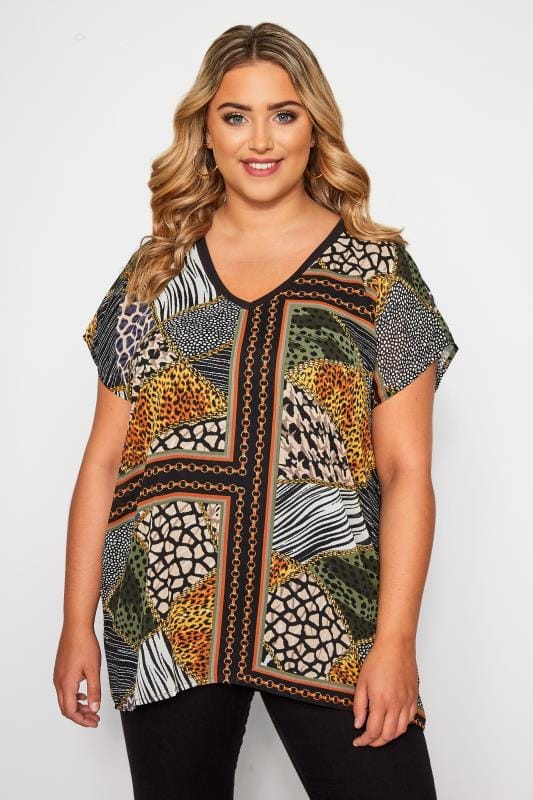 Plus Size Blouses & Shirts Black & Orange Animal Chain Print Top