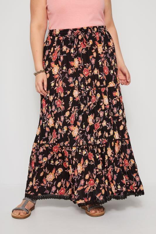 Black & Orange Floral Tiered Maxi Skirt