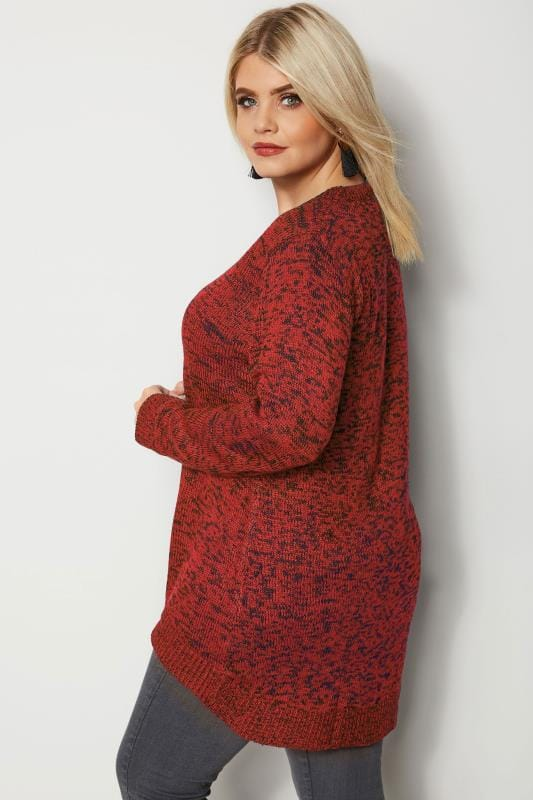 Pullover in Melange Strick - Orange