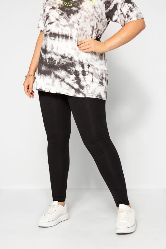 Plus Size Basic Leggings SUSTAINABLE Black Organic Cotton Leggings