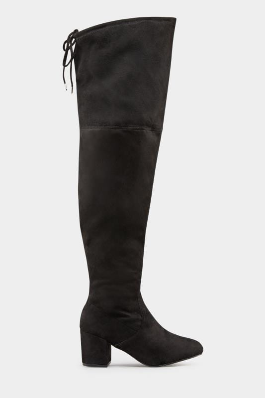 Black Faux Suede Over The Knee Boots In Extra Wide Fit
