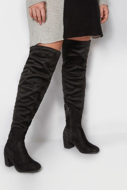 Wide Fit Boots Black Over The Knee Boots In Extra Wide Fit