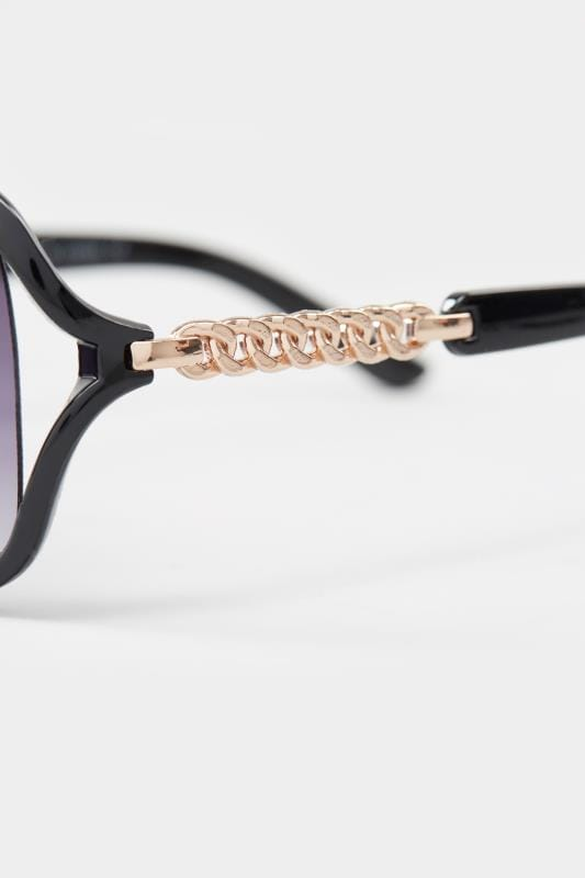 Black Oversized Chain Sunglasses