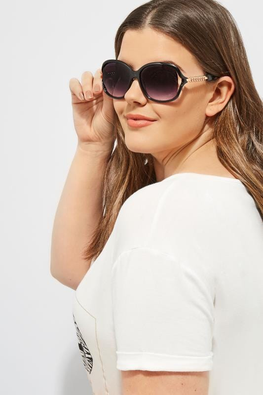 Plus Size Sunglasses Black Oversized Chain Sunglasses