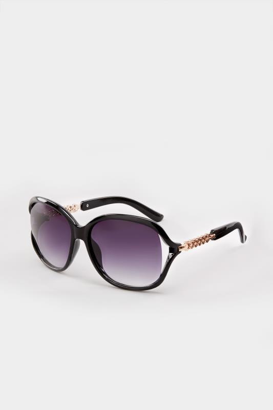 Black Oversized Chain Sunglasses